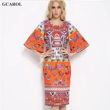 women digital floral printed retro dress flare sleeve orange