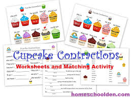 contraction worksheets and activity u2013 cupcake theme homeschool den