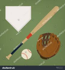 Home Plate Baseball Vector Set Baseball Items Featuring Baseball Stock Vector