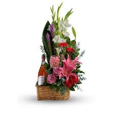 flowers wine flowers with wine delivered in a basket