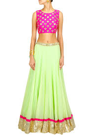 color combi for red dress mint green lehenga with pink heart crop