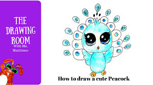 how to draw a cute peacock how to a cute animal youtube