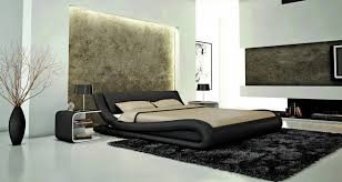 contemporary black eco leather bed