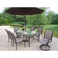 7pc Patio Dining Set Oakland Living Cascade Patio Dining Set With Umbrella And Stand
