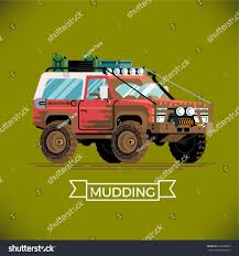 mudding cars cool detailed flat design off road stock vector 636356687