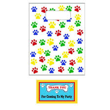 paw print party favor bags tags 12 favor bags paw patrol