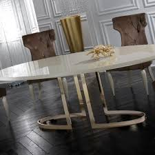italian designer lacquered gold oval dining table set juliettes