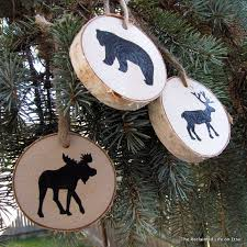 woodland animal birch tree ornaments made from fallen birch limbs