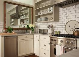 white brick ceramic backsplash with white classic cabinet paint