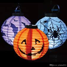 halloween pumpkin lights lamp halloween paper lantern spiders bats