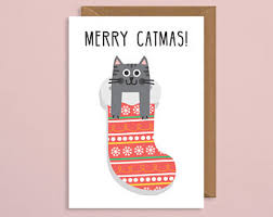 christmas cat card etsy