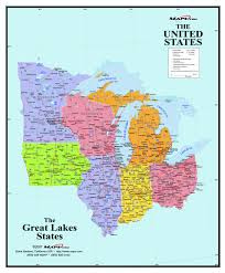 Cleveland Zip Code Map Great Lakes States Wall Map Maps Com