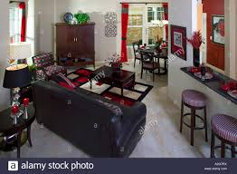 middle class home interior living room denver colorado stock