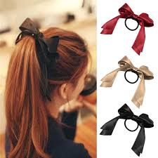 hair ribbon 1pcs2018 women tiara satin ribbon bow hair band rope scrunchie