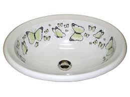 Oval Bathroom Sinks Marzi Sinks U0027 Butterflies Hand Painted Oval Sink Artisan Crafted Home