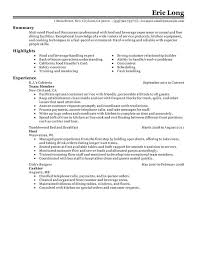 supervisor resume exles ideas of food and beverage supervisor resume lovely impactful