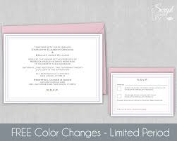modern invitation template with response card wedding