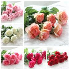 12head artificial fake roses silk flower wedding home party bridal