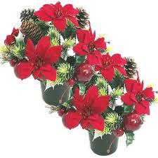 graveside flowers artificial luxury poinsettia memorial vase pot x2 graveside