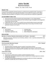 Examples Of Skill Sets For Resume by Data Analyst Resume Example Business Finance