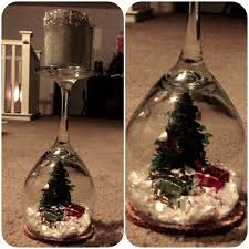 wine glass snow globes christmas decorations in wine glass diy wine glass candles best