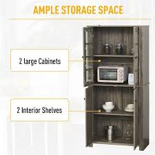 kitchen storage cabinets with doors and shelves homcom contemporary kitchen pantry freestanding storage