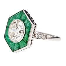 one of a kind halo style art deco diamond platinum ring