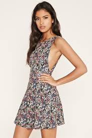 forever 21 v back floral skater dress in black lyst