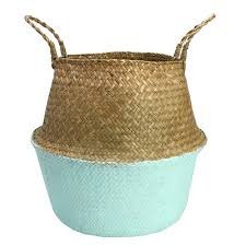 foldable large straw braid storage basket shopping bag plant pot