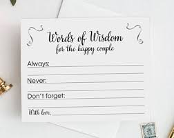 advice cards for and groom wedding advice cards etsy