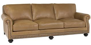 traditional sleeper sofa leather pillow back sofa with rolled arms and nail trim club