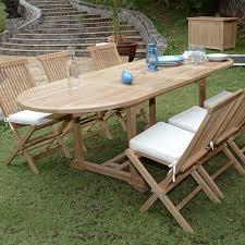 m chaises salon de jardin en teck tanao table 160 à 240 cm 6 chaises