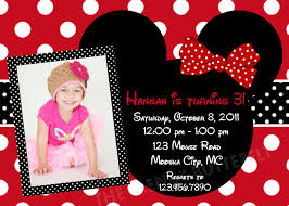 minnie mouse first birthday invitation choice image invitation
