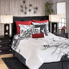 Black And Red Comforter Sets King Ashley Amalia Red King 9 Piece Bed In A Bag By Ashley Bedding