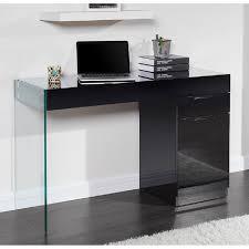 Bureau Verre Design Contemporain - crea bureau contemporain en bois verre trempé noir l 121 cm
