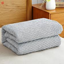home textile washed cotton gauze blanket light gray grid towel