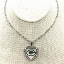 heart necklace pendant images 10pcs lot charm green bay packers heart necklace pendant jewelry jpg