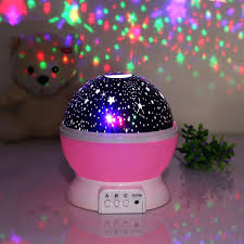 fetta 360 rotation night light star sky moon projector with 4 led