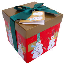 folded gift box with lid and bow sm gold snowmen