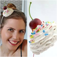 cupcake headband cupcake headpiece whipped cream headband