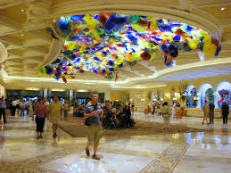Old Las Vegas Map by Glass Flowers Adorn Lobby Ceiling Bellagio Las Vegas A Photo