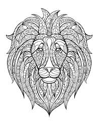 lion head animals coloring pages for adults justcolor