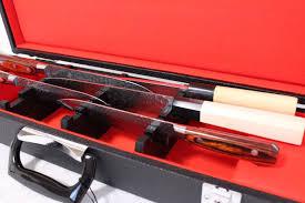 japanese kitchen knife leather case black for six knife 51 x 15 x