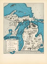 Port Huron Michigan Map by Vintage Michigan Map Print Your Own Christmas Gift Instant Art