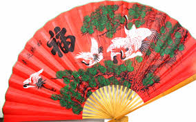 Asian Wall Fans by Vintage Chinese Fan Wall Decor Large Red And Green Fabric