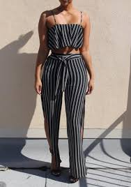 black and white jumpsuit black white striped print two sashes bandeau shoulder