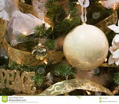 white and gold tree ornaments stock image image 12116547