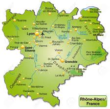 Lyon France Map Map Of Rhone Alpes As An Overview Map In Green Royalty Free