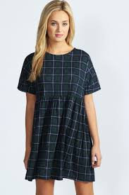 boo hoo clothing boohoo kate tartan oversized smock dress in multi tartan boohoo