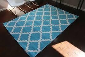 Blue Quatrefoil Rug 8x11 Quatrefoil Geometric Modern Contemporary Light Blue White